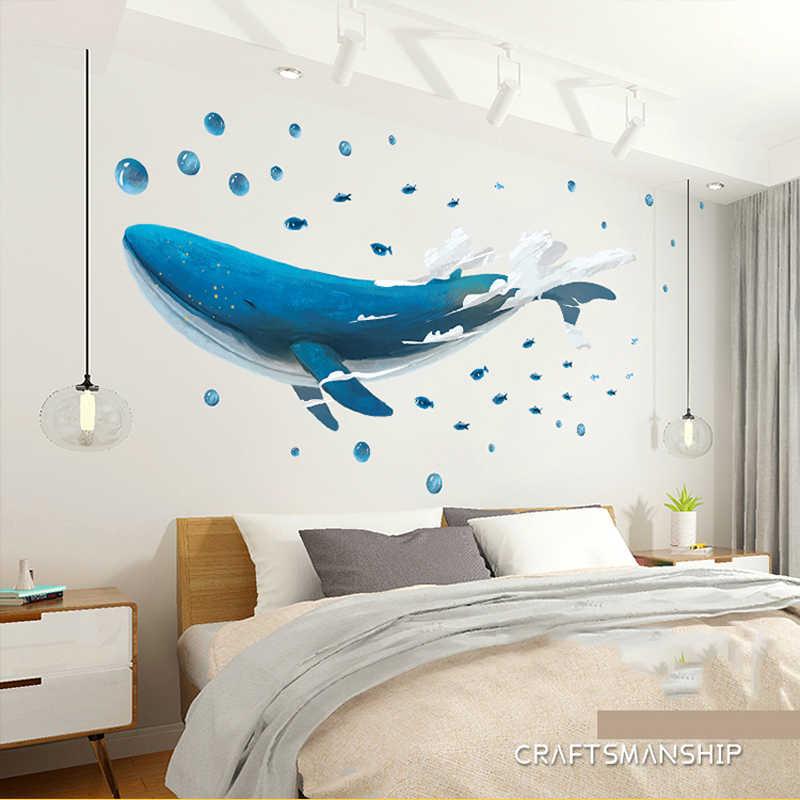 Kreatif 3D Terbang Whale Kartun Dinding Stiker untuk Anak Kamar Dekorasi Rumah Ruang Tamu Mural Seni Dekorasi Dinding stiker