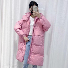 2021 New Women Winter Coats Warm Parkas Female Puffer Jackets Thickness Long Solid Color Hooded Ladies Outerwear