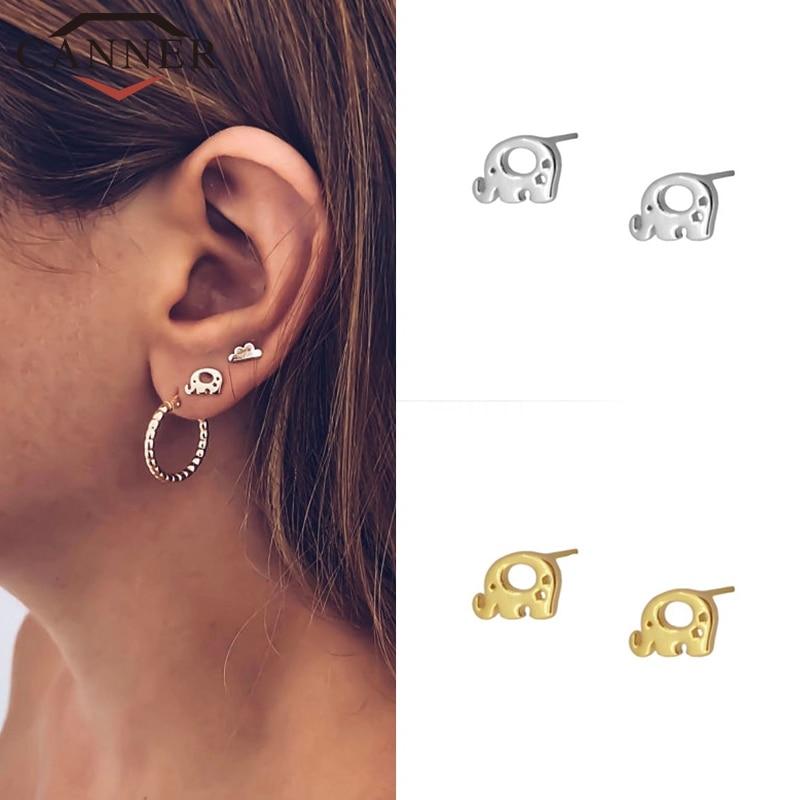 Minimalist 925 Sterling Silver Cute Elephant Stud Earrings For Women Simple INS Korean Earrings Fashion Jewelry
