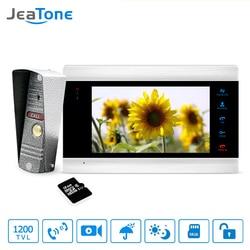 1 монитор + 1 видеоглазок + 16 г SD карты домофоны для частного дома 7 дюймов Сенсорная Кнопка видео Дверные звонки домофон Водонепроницаемый дв...