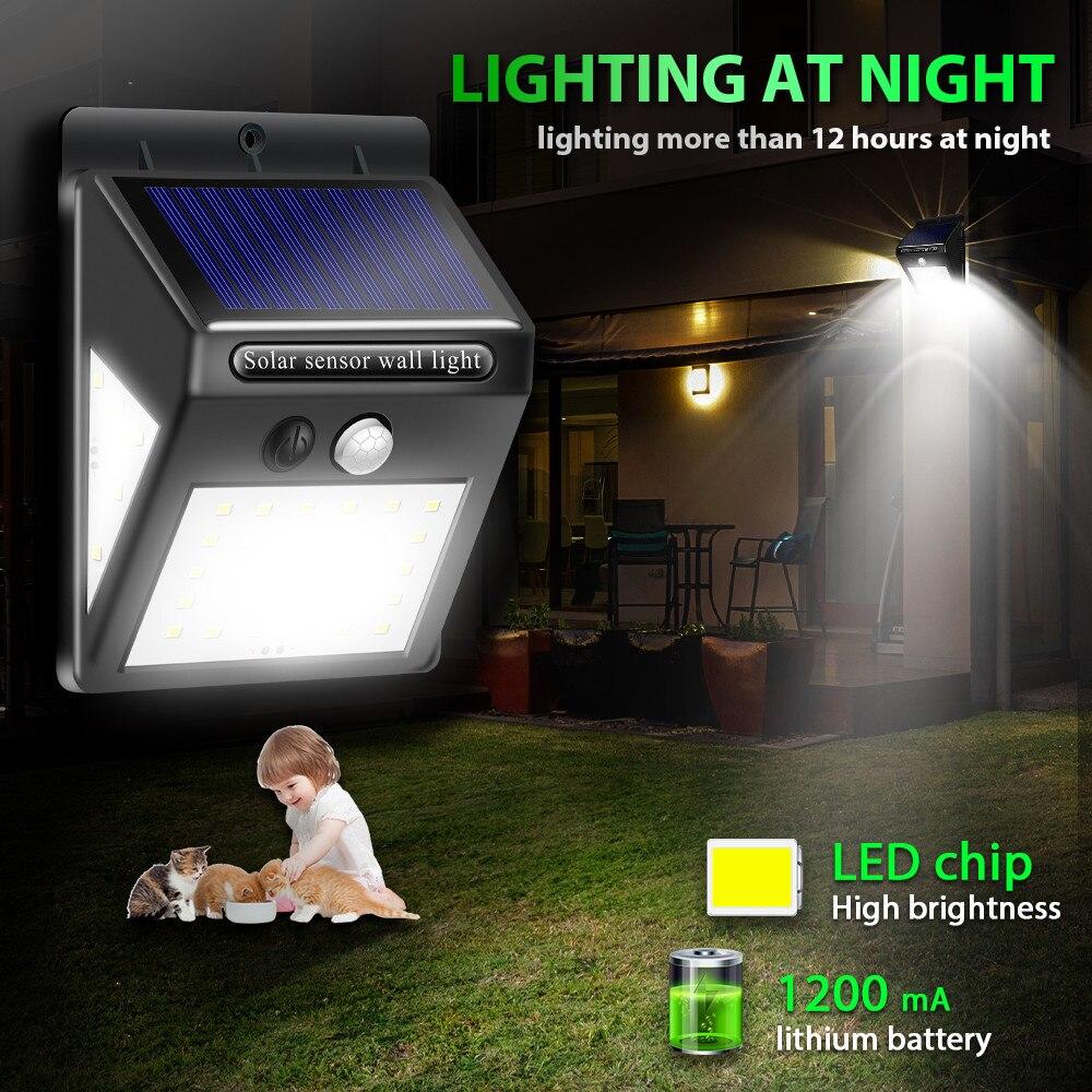1-4pcs 30/40LED Luz Otdoor Solar Wall Lamp PIR Motion Sensor IP65 Waterproof Garden Lamps Solar Light Wireless Automatic 3 Side