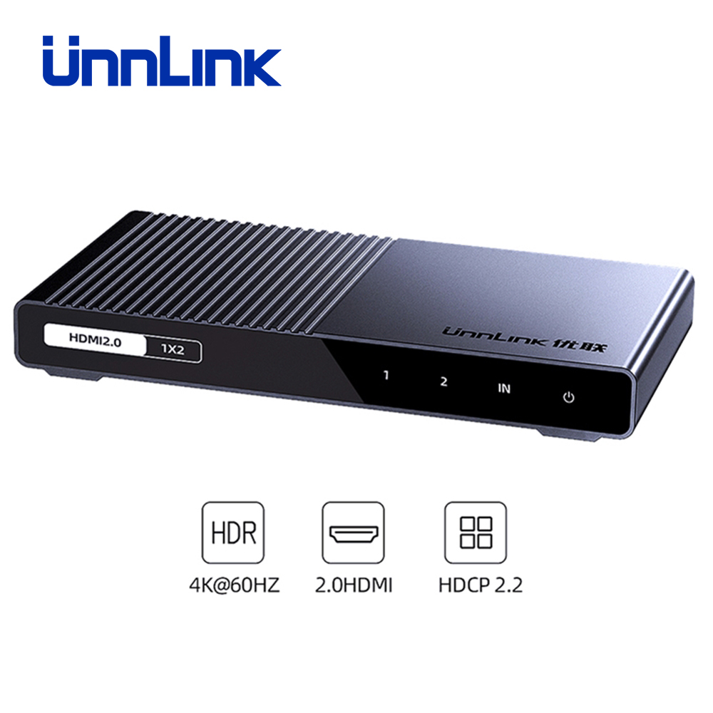 Unnlink HDMI Splitter 1X2 1X4 HDMI2.0 UHD4K@60H 18Gbps 444 HDCP 2.2 HDR 1 In 2 4 Out for LED TV MI Box Switch PS4 xBox Projector-in HDMI Cables from Consumer Electronics
