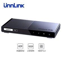 Unnlink HDMI dağıtıcı 1X2 1X4 HDMI2.0 UHD4K @ 60H 18Gbps 444 HDCP 2.2 HDR 1 2 4 Out LED TV için MI kutusu anahtarı PS4 xBox projektör