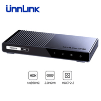 Unnlink HDMI Splitter 1X2 1X4 HDMI2.0 UHD4K@60H 18Gbps 444 HDCP 2.2 HDR 1 In 2 4 Out for LED TV MI Box Switch PS4 xBox Projector