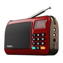 Rolton Mni FM נייד רדיו רמקול Mp3 מוסיקה נגן TF כרטיס USB למחשב iPod טלפון עם תצוגת LED פנס מנורה