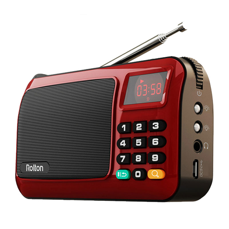 Rolton Mni FM Portable Radio Speaker Mp3 Music Player TF Card USB For PC iPod Phone With LED Display And Flashlight Check lamp image