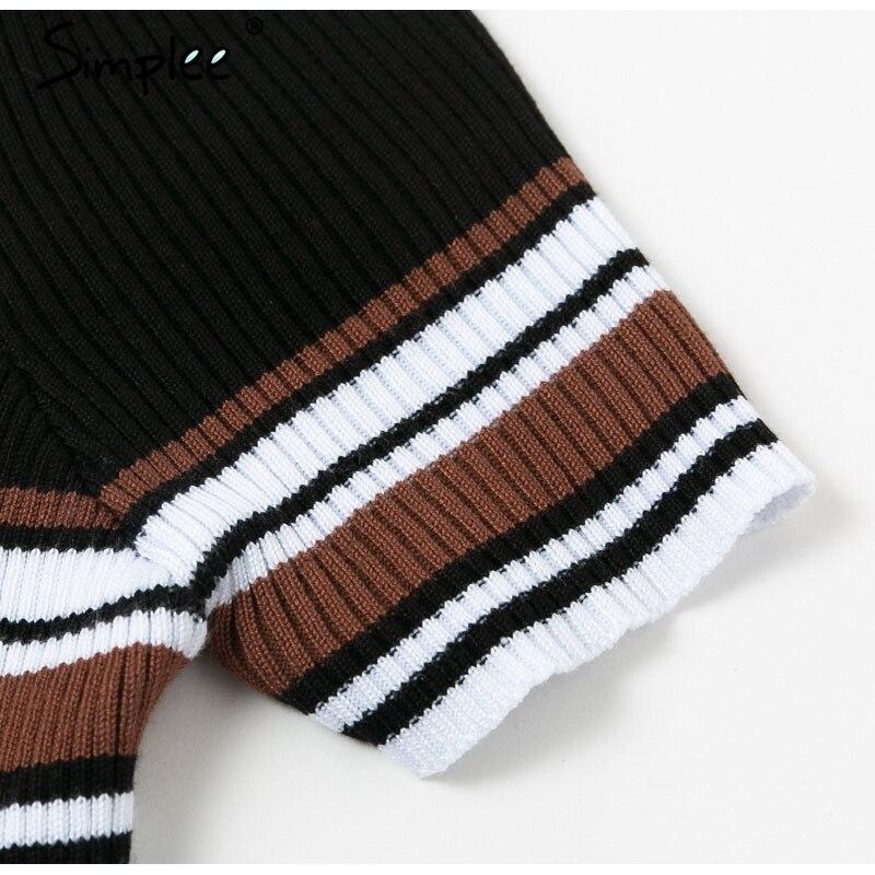 Simplee Plus size stripes slim dresses women 2019 Summer female sexy legant front zipper vestio Ladies knitted party desses