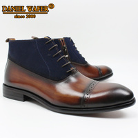 Luxury Men Ankle Boots Original Suede Leather Shoes Cap Toe Lace Up Pointed Toe Brown Black Casual Dress Formal Shoes Men Boots