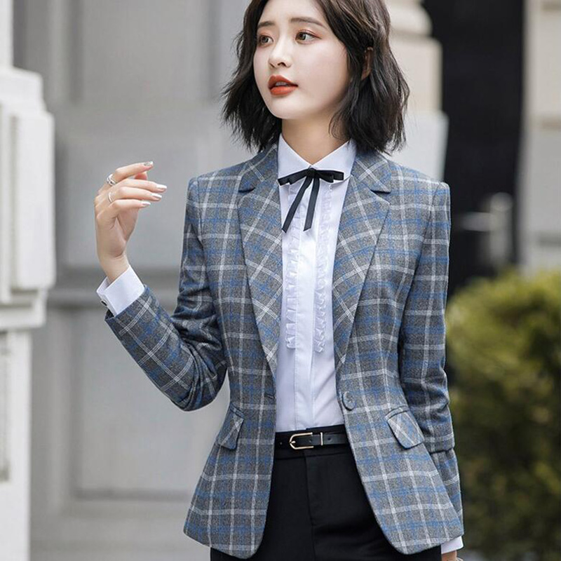 Soft And Comfortable Plaid Jacket With Pocket Office Lady Casual Style Blazer Women Wear Single Button Coat
