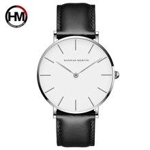 Relógio masculino e feminino de couro impermeável, relógio moderno de pulso feito em couro rosé e dourado, dropshippingsaat womensaat mensaat watch