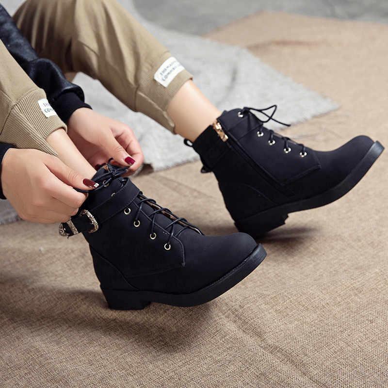 ASUMER büyük boy 34-43 moda yarım çizmeler kadın yuvarlak ayak zip düşük topuklu sonbahar kış çizmeler çapraz bağlı bayanlar balo botları 202