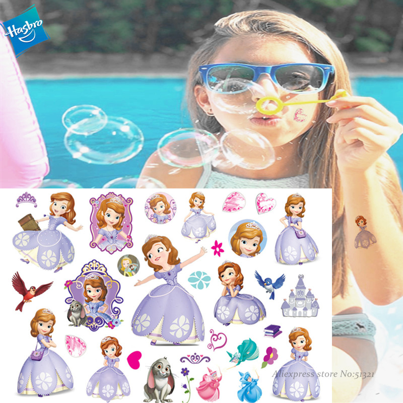 Hasbro Princess Sophia Children Cartoon Temporary Tattoo Sticker For Girl Cartoon Tattoo Toy Funny Birthday Party Tool Kid Gift