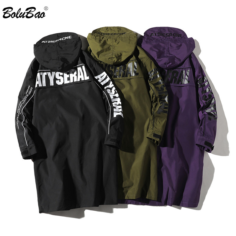 BOLUBAO Spring New Men Trench Coats Fashion Brand Men's Trendy Wild Letter Print Casual Trench Long Section Hooded Trench Male
