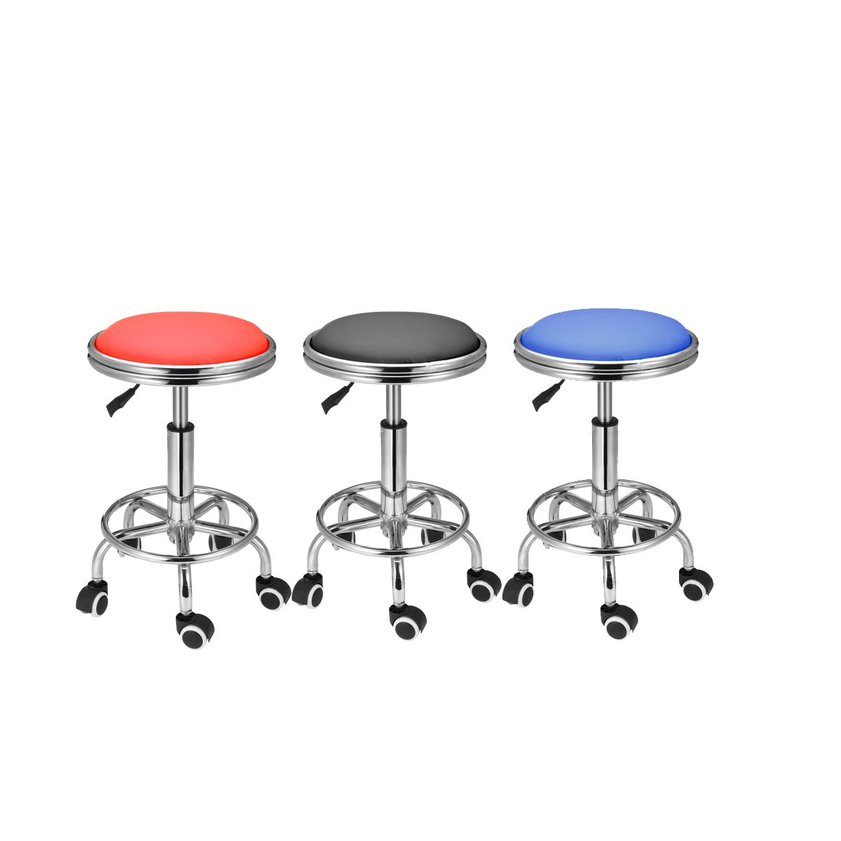 Leather Bar Chair With Roller Adjustable Height Barber Salon Chair Hairdressing Styling Chair Tattoo Massage Tool Round