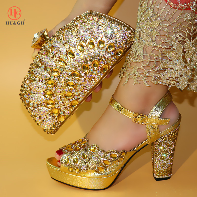 Italian Ladies Shoes and Bag To Match Set Decorated with Rhinestone African Women luxury Shoes Set Nigerian Women Wedding Sandal