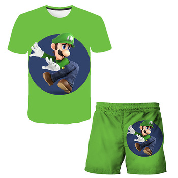 Brand boys and girls best-selling quick-drying children's suit new 3D cartoon pattern printing cartoon beach pants short sleeves