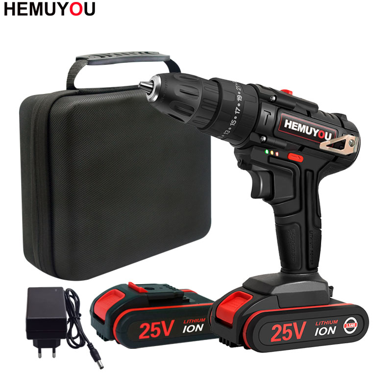 Electric Screwdriver Household Rechargeable Mini Electric Drill Battery Screwdriver New 25V Hammer Drill Cordless Electric Tool
