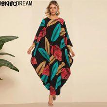 Saiba sonho vestido de verão moda mais tamanho morcego feminino mid-sleeve plissados cor folha impressão boêmio casual solto saia longa