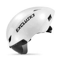EXCLUSKY TT Bike Helmet Red triathlon Bicycle Helmet Time-Trial Cycling Helmet with Goggles Lens Sport cap foxe wilier racing D
