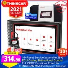 Automático obd2 ferramentas de diagnóstico thinkscan max sistema completo ecu codificação bidirecional controle 28 redefinir livre pk lançamento x431 scanners