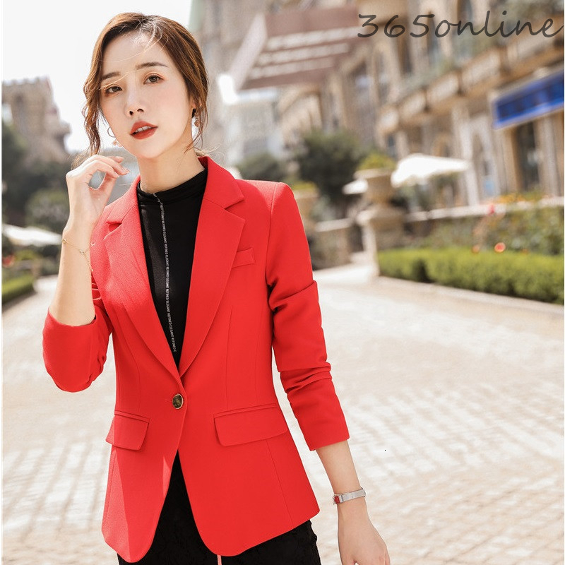 Novelty Red Long Sleeve Fashion Casual Styles Women Blazers And Jackets Coat Ladies Office Blaser Tops Outwear Overcoat Clothes
