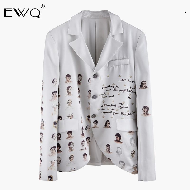 EWQ / 2020 New Fashion Spring Suit Collar Portrait Print Blazer Man Loose Casual Tide Korean Version Single Breasted Coat 9A350
