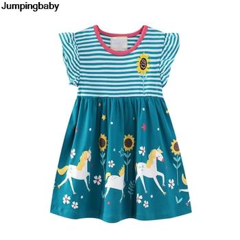 2021 Girls Dress jednorożec Sukienki letnie ubrania kostiumy dla dzieci Vestidos De Verano szata Sukienki szata Fille Roupa Infantil Menina tanie i dobre opinie jumpingbaby Dziewczyny COTTON POLIESTER 25-36m 13-24m 4-6y CN (pochodzenie) Lato Do kolan O-neck REGULAR SHORT Europejskich i amerykańskich style
