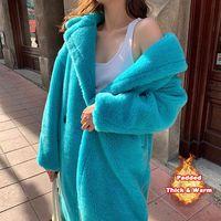 Bella Philosophie Frauen Winter Faux Fur Warme Lange Mantel Langarm Weibliche Dicken Teddy Bär Mantel Beiläufige Lose Oversize Outwears