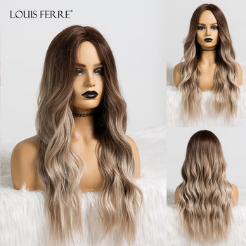 LOUIS FERRE Long Wavy Ombre Black Light Ash Brown Gray Wigs Middle Part Cosplay Synthetic Wig for Women Heat Resistant Fibre wignee hand made front ombre color long blonde synthetic wigs for black white women heat resistant middle part cosplay hair wig