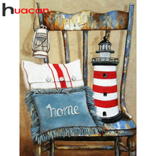 Huacan 5d Diamond Painting Scenery Mosaic Chair Full Square Embroidery Lighthouse Home Decor Handmade Gift