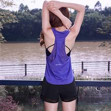 Mesh Breathable Women Yoga Tops Fitness Gym Shirts Sport Tank Tops Running T Shirts Women Sportswear Workout Top Shirts 1221 cheap JJunLiM Polyester spandex Sleeveless Broadcloth Quick Dry