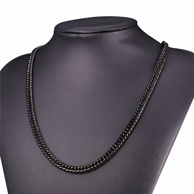 Acier inoxydable hommes collier acier cubain lien chaînes colliers noir hip hop mâle accessoires or bijoux sur le cou grand