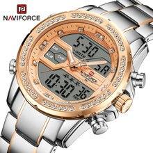 Naviforce роскошные мозаичные кварцевые часы с кристаллами модные