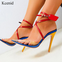 Women Sandals Cross-Strap Ladies Shoes Pointed-Toe High-Heel Transparent Sexy Summer