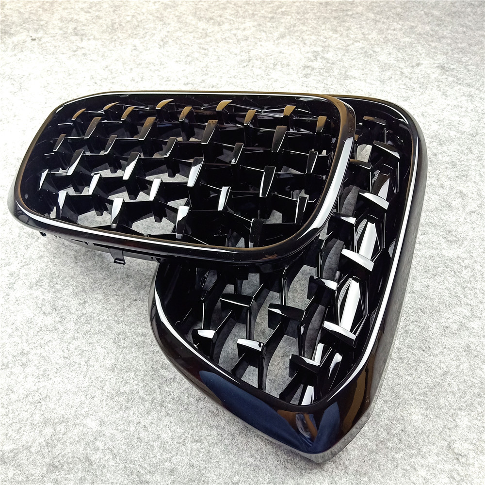 For Bmw F10 F18 <font><b>F30</b></font> E90 F35 G30 G38 X1 X3 X4 X5 X6 Z4 E89 Glossy Black Car Tuning Front Diamond Kidney <font><b>Grill</b></font> Mesh Grille A Pair image