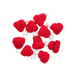 10PCS Knitted Small Christmas Hat Santa Claus Cap Cute Christmas Hats Headdress Party Favors DIY Handmade Accessories Red A50