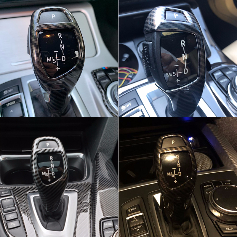 Car Styling Carbon Fiber Gear Shift Handle Sleeve Button Cover <font><b>Stickers</b></font> Trim For BMW <font><b>F20</b></font> F30 F10 F32 F25 X5 F15 X6 F16 image