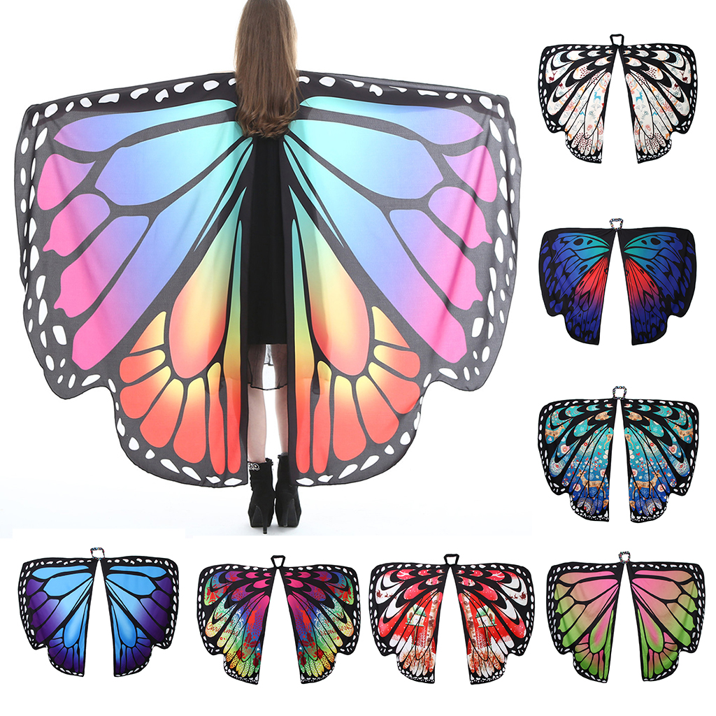 Xmas Party Dress Fairy Ladies Nymph Pixie Costumes Accessories Christmas Soft Fabric Butterfly Wings Shawl For Women