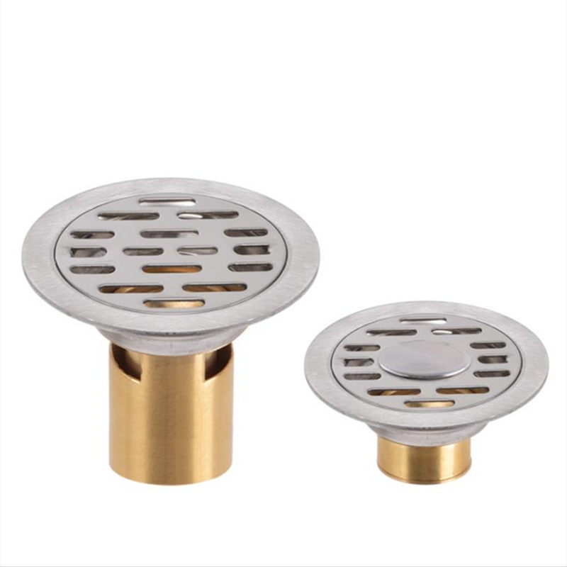 304 Stainless Steel Washing Machine Floor Drain Shower Room Round Surface Brushed Proces Design Floor Drain 8CM