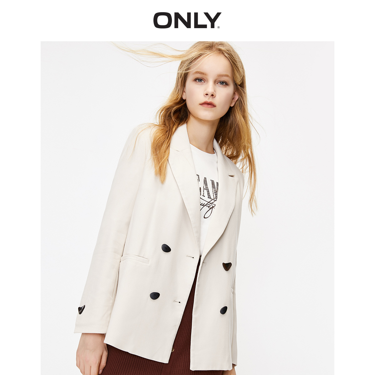 ONLY Women's  Loose Fit Lapel Double-breasted Pure Color Blazer | 119308510