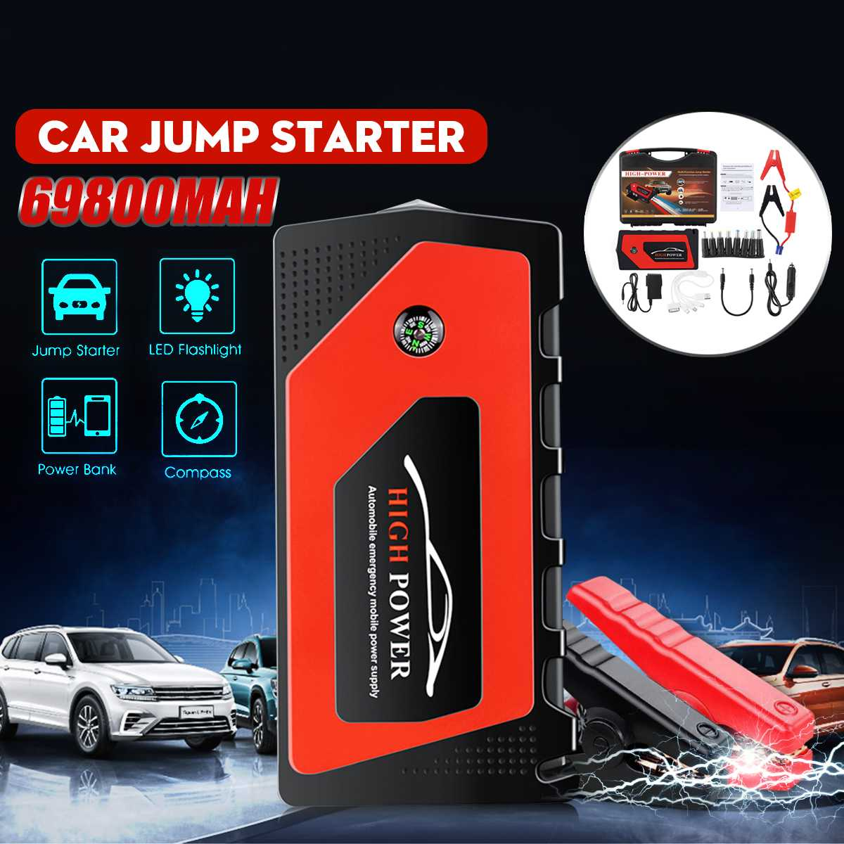 Portable Car Jump Starter 69800mAh 12V Car Jump Starter Booster Battery Charger USB Charger Emergency Power Bank Starting Device