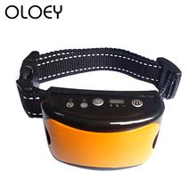 Oryginalny przestać szczekać urządzenie 7 czułość dla psa obroża zapobiegająca szczekaniu wibracje drgania elektryczne wstrząsy szkolenia psów kołnierz kora środki odstraszające tanie tanio OLOEY Kora Deterrents CW-FJC-1488 Z tworzywa sztucznego Dog Anti Barking collar Blue Yellow Orange Green USB Rechargeable