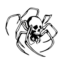 DAWASARU Vinyl Car Body Decal Creepy Arachnid Skull Spider Fashion Car Sticker Black/Silver Ccessories Custom 12*11CM skull sward shape chrome car body sticker silver black red