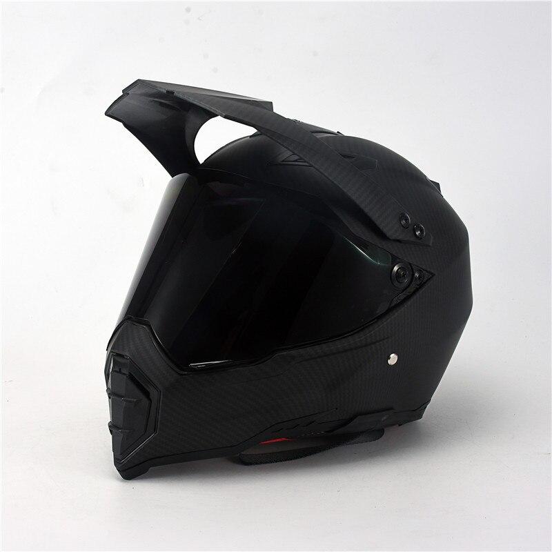 Mate noir double Sport hors route moto rcycle casque saleté vélo ATV D.O.T certifié (M, bleu) complet casco pour moto sport - 2