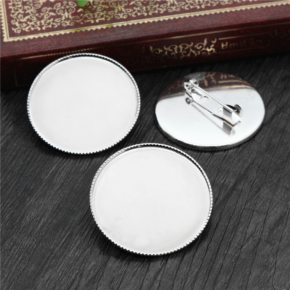 5pcs 30mm Inner Size Silver Color Plated Brass Material Classic Style Brooch Cabochon Base Setting Charms Pendant (B5-21)