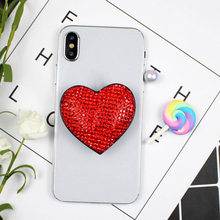 Luksusowe serce Glitter Socket like składany Uchwyt Na palec serdeczny Uchwyt Na telefon stojak Na Iphone Samsung Girl Uchwyt Na miejsce
