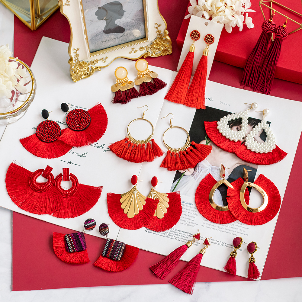 Vintage Bohemian Big Tassel Drop Earrings For Women Statement Red Long Fringe Wedding Dangle Earring 2020 Fashion Female Jewelry