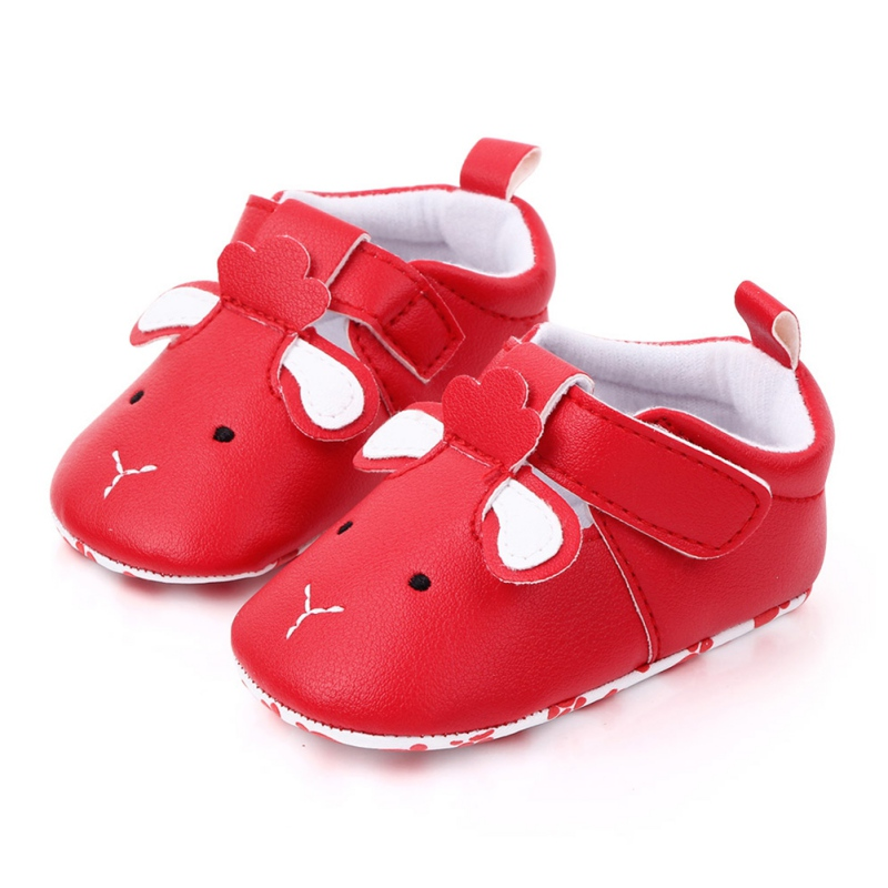 Autumn Newborn Baby Boys Girls PU Shoes Comfortable Cute Cartoon Animal Printed Solid Color With Ear Anti-Slip Soft Soled Shoes