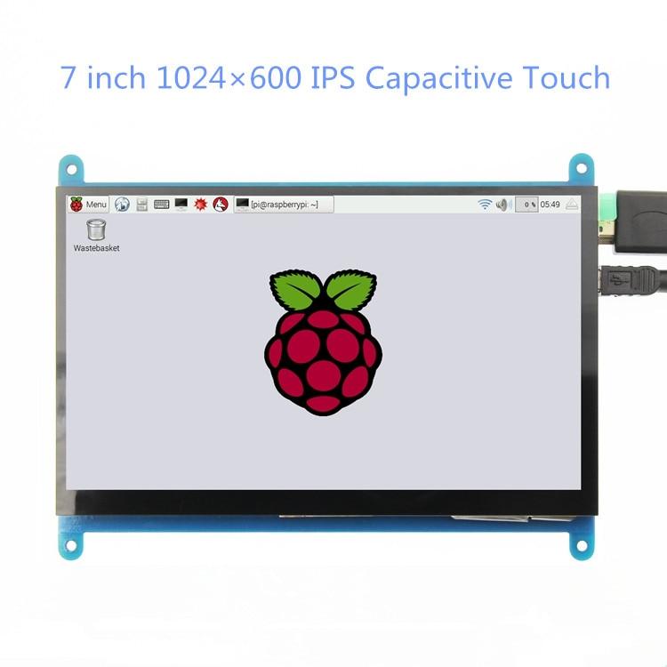 7 дюймов 1024*600 IPS емкостная сенсорная панель TFT LCD модуль экран дисплей для Raspberry Pi 3 B +/4b
