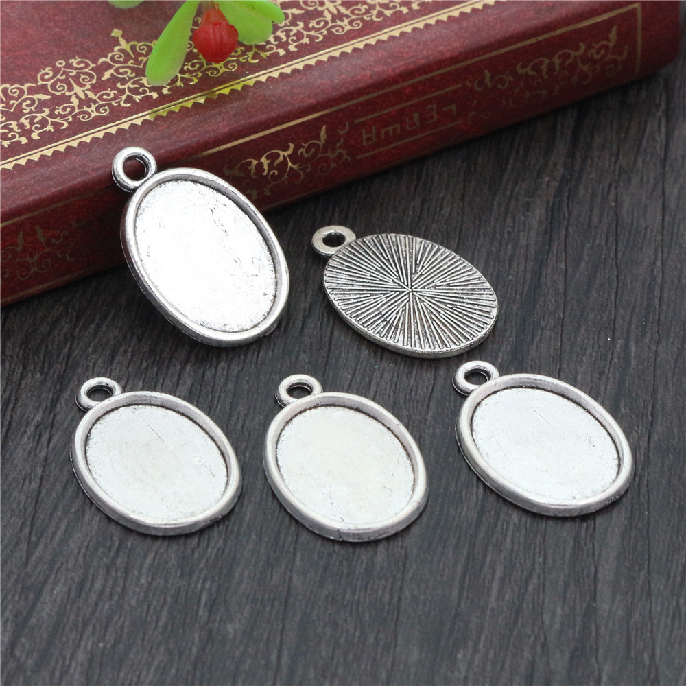 10pcs 13x18mm Inner Size Antique Silver Plated Simple Cameo Cabochon Base Setting Charms Pendant Necklace Findings  (D4-28)